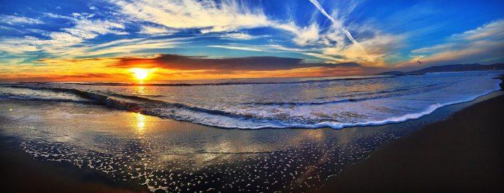 Sun, Waters, Sunset, Blue